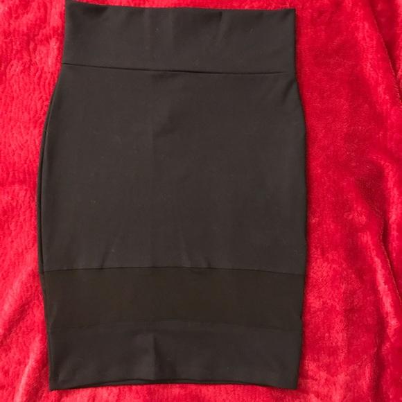 Bebe Black and Mesh Skirt